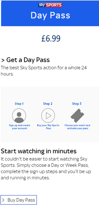 Sky Sports Day Pass Price