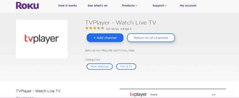 TVPlayer app on Roku